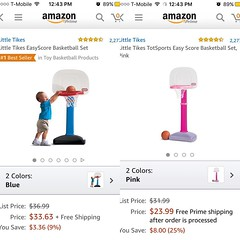 WHY? We really need two different color basketball hoops? Will my son be better at basketball if I choose tea right color??