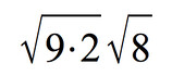 square root of 9 times 2 times square root of 8
