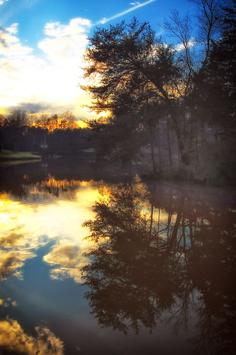 sunset lake clouds reflections landscape us poem northcarolina gastonia heatherlock dorameulman matsuebasho