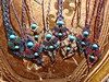 Macramé-Cavandoli pendants with semi-precious beads
