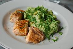 Miso-Glazed Salmon & Edamame Mash