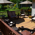 DuraLife Siesta decking in Golden Teak with Mahogany Railways railing