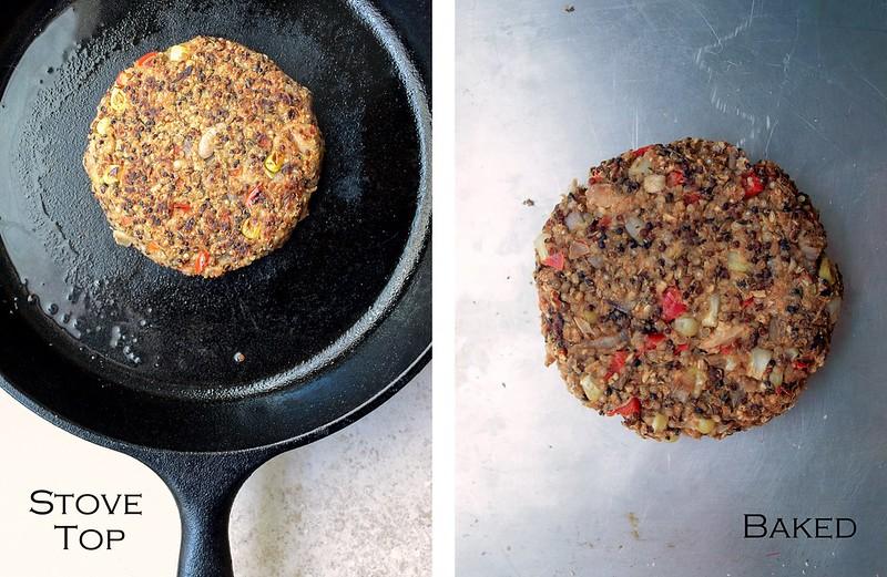 Quinoa & White Bean Veggie Burgers: cooked