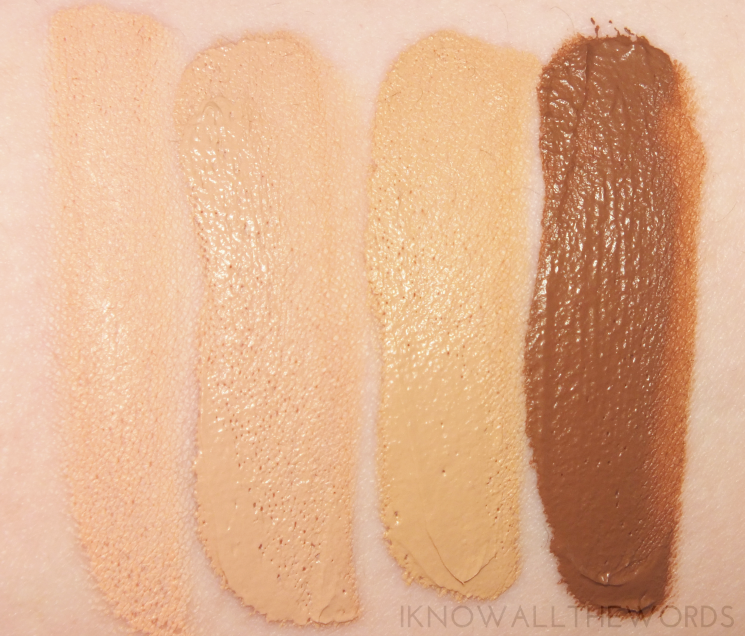 maybelline dream velvet soft matte hydrating foundation swatches 10, 15, 60, 95