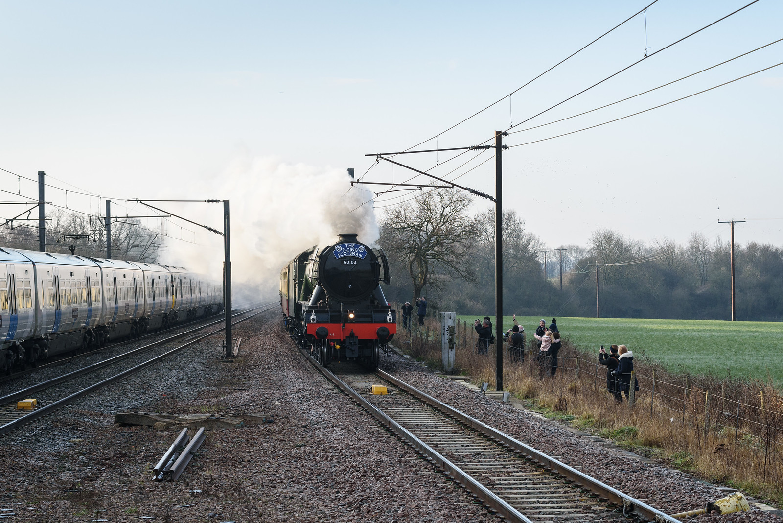 Scotsman flying past the path