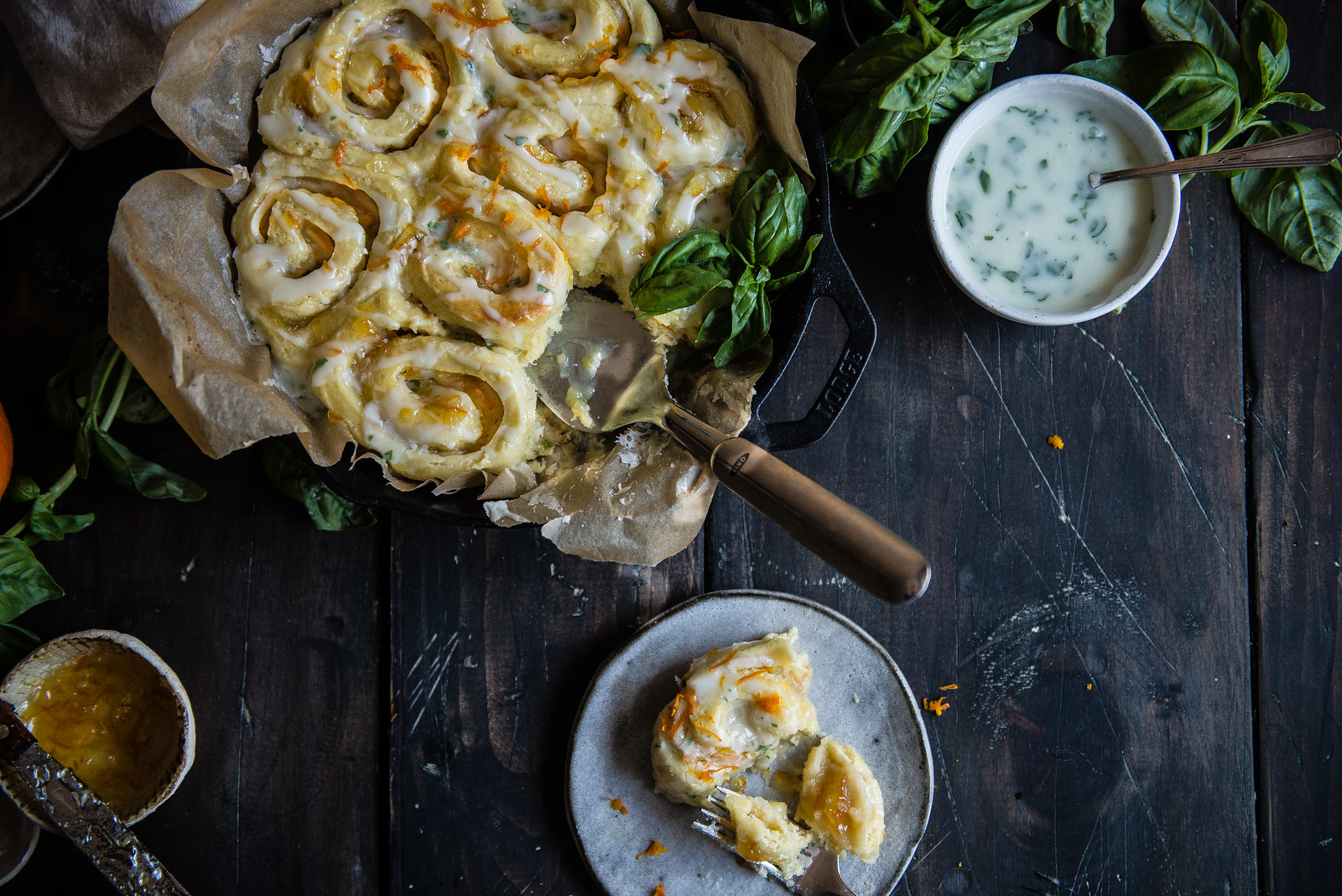 orange-almond sweet rolls with basil glaze | two red bowls