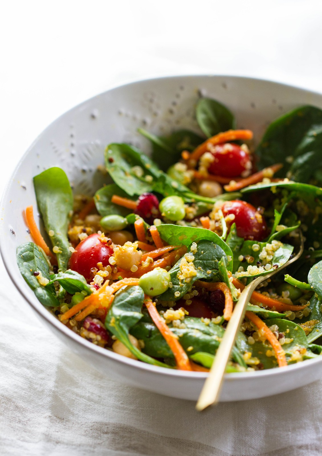 SUPER SPINACH SALAD + CARROT MISO GINGER DRESSING