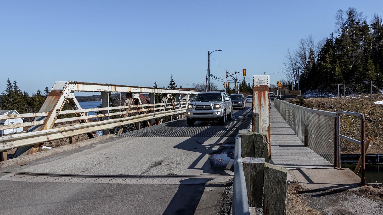 """Bridge traffic going to """"town""""."""