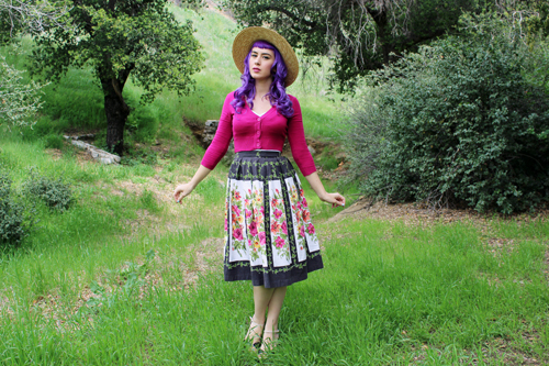 MAK Modcloth Dream Of The Crop Cardigan In Baton Rouge Tuesday Rose Vintage Floral Skirt