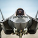 Maj. Garret Dover prepares to taxi in an F-35A at Mountain Home AFB, Idaho, Feb 17, 2016. Six operational test and evaluation F-35s and more than 85 Airmen of the 31st TES travelled to Mountain Home AFB to conduct the first simulated deployment test of the F-35A, specifically to execute three key initial operational capability mission sets: suppression of enemy air defenses, close air support and air interdiction. (U.S. Air Force photo by J.M. Eddins Jr.)