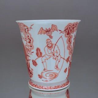 Meissen, Vase, Marianne Meyfarth, Art Deco, Schiff, Angler, Fledermaus, Eule, Korallrot, Eisenrot