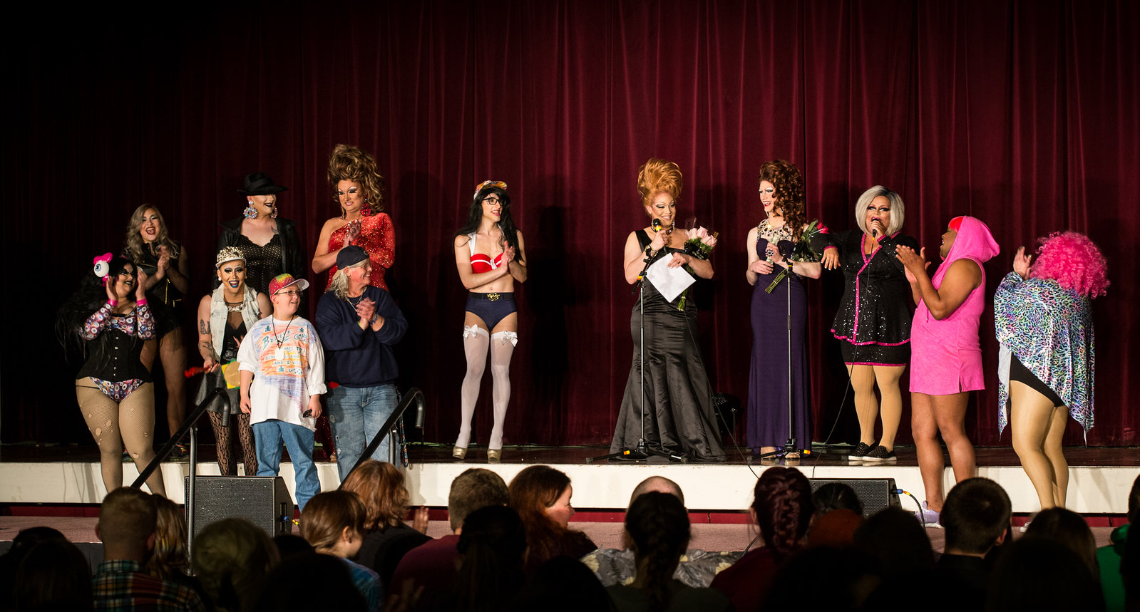 The Drag Queens and Kings of HokiePRIDE's Spring 2016 Charity Drag Show. Photo by David Greenawald