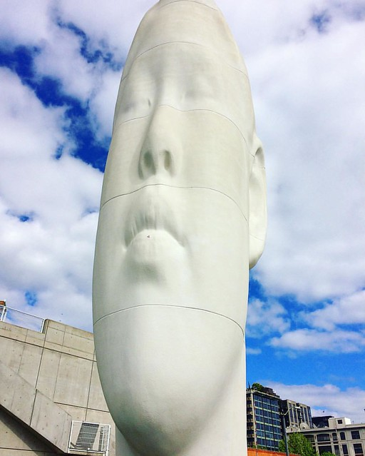 "The big head (""Echo"") was my favorite sculpture at the Olympic Sculpture Park. 🗿"