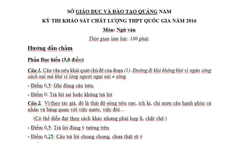 Đáp án đề thi thử THPT Quốc Gia môn Văn 2016 sở GD Quảng Nam