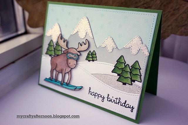 Slopeside Birthday Card with Lawn Fawn