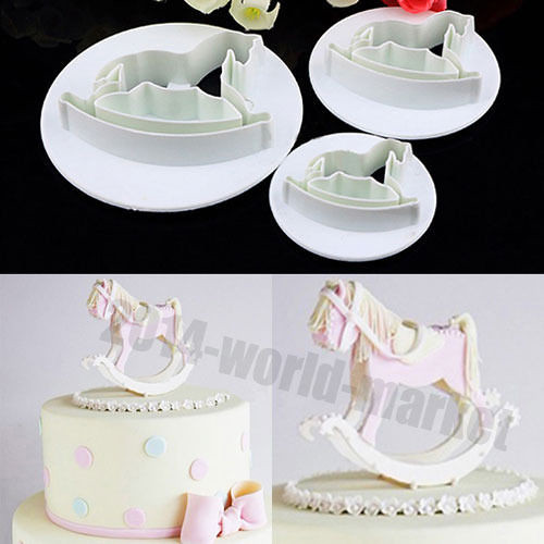 3Pcs Horse Fondant Cake Sugarcraft Cookie Plunger Mold Cutter Decorating Tool #T