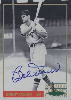 1993 Spectrum Diamond Club Boston Red Sox - Bobby Doerr #2 of 5 (Second Base) (Hall of Fame 1986) - Autographed Baseball Card