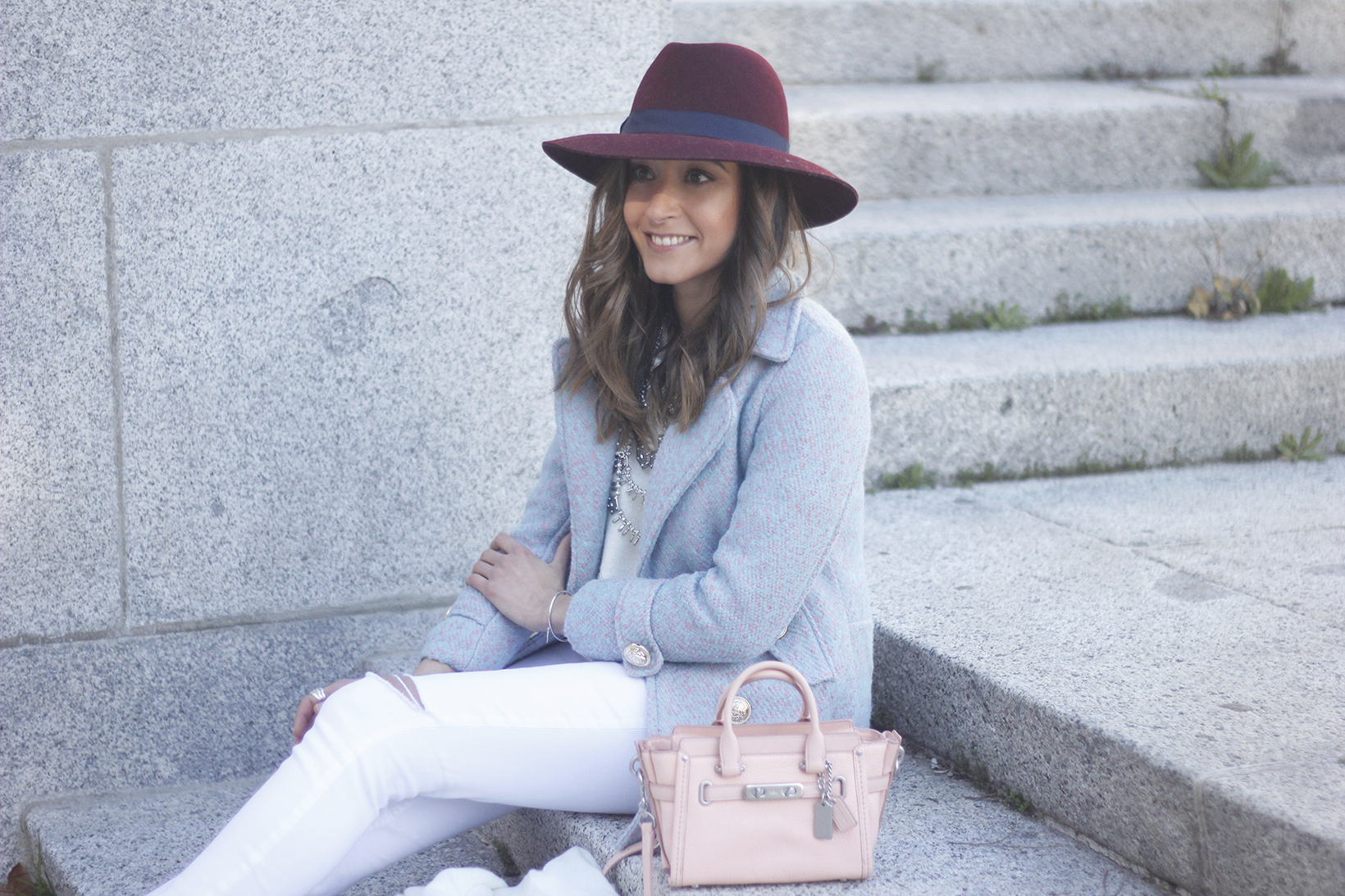 Blue Coat White outfit burgundy hat pink bag coach accessories style06