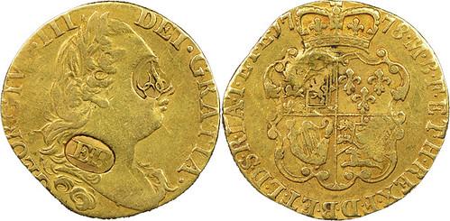 1778 Great Britain Guinea hallmarked by Ephraim Brasher