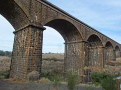 Malmsbury. The five railway viaduct across the Coliban River built 1858 onwards to complete the Melbourne to Bendigo Railway which opened in 1862.