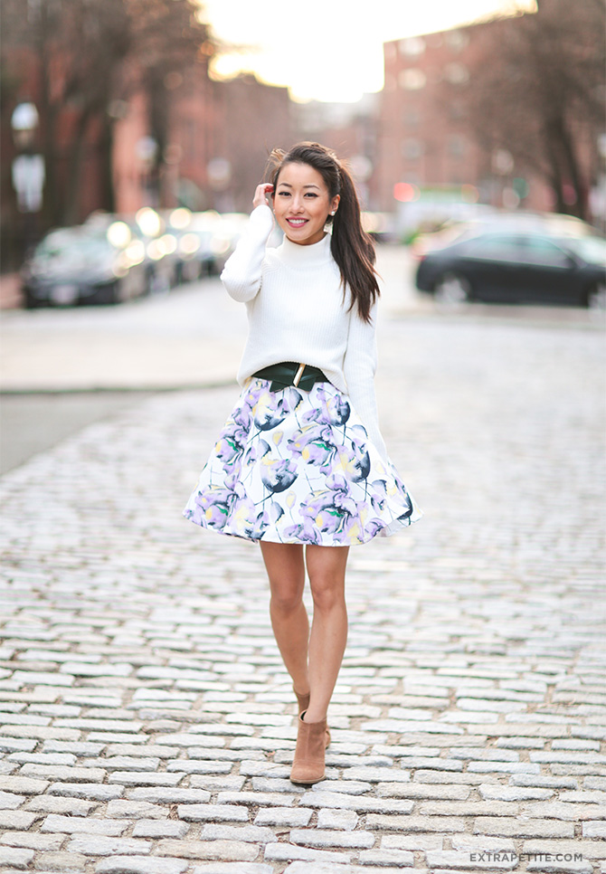 cream sweater floral dress skirt ankle booties spring outfit