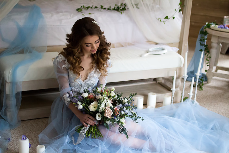 "A blue wedding gown for ""something blue"" winter wedding 