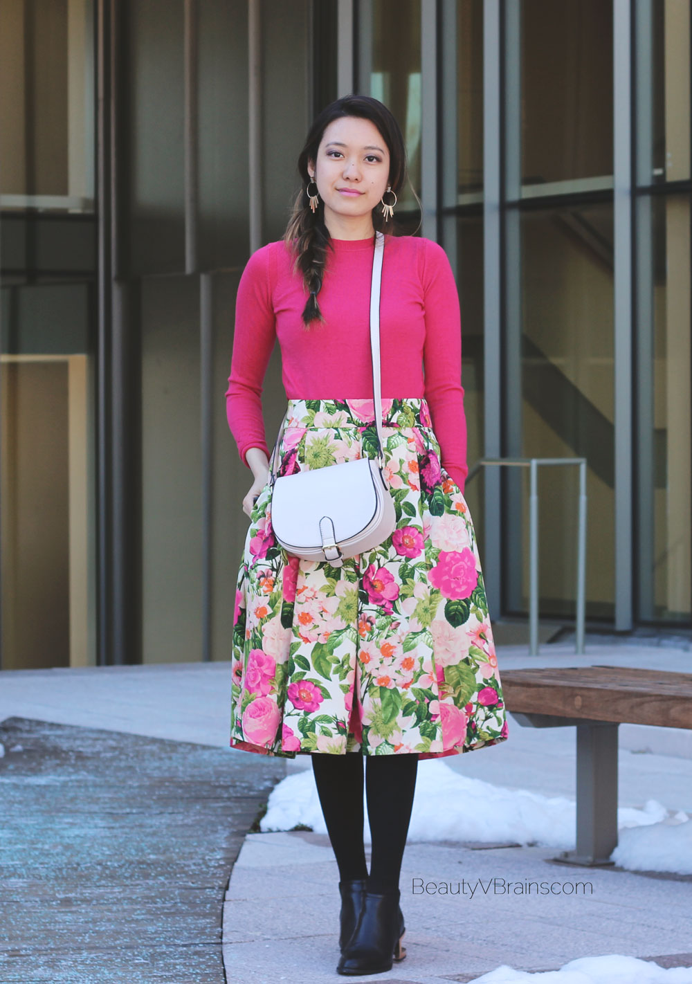 Spring outfit inspiration floral midi skirt