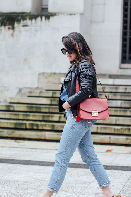 total look denim ties and heels patchwork blouse with furla metropolis bag streetstyle