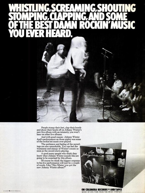 A promotional advertisement for Johnny Winter AND Live album as published in Billboard Magazine