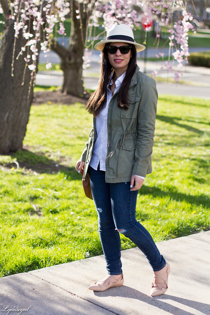 field jacket, white shirt, panama hat, laceup flats-6.jpg