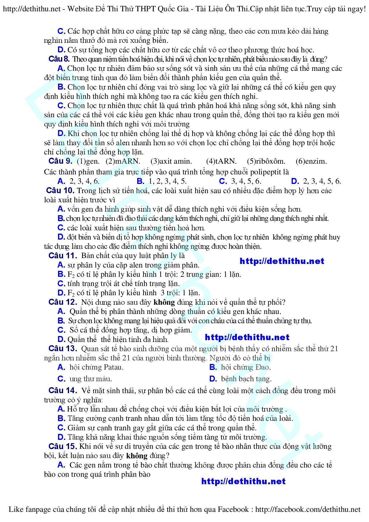 ĐỀ THI THỬ THPT QUỐC GIA MÔN SINH 2016 ĐỀ THI THỬ ĐẠI HỌC MÔN SINH  de thi thu dai hoc mon sinh  Đề thi thử THPT Quốc Gia môn Sinh 2016 sở GD Quảng Nam