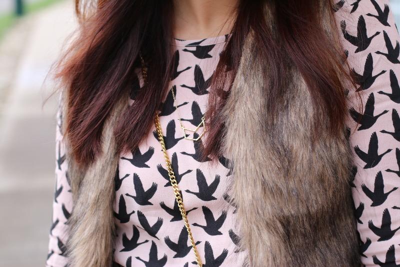 hm swallow print rose quartz top, gorjana necklace
