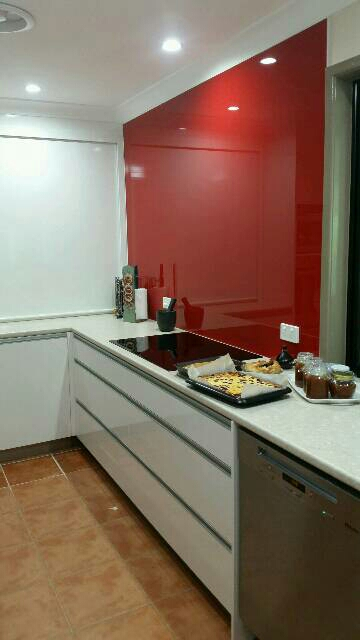 Red splash back for new kitchen in Wellington Point