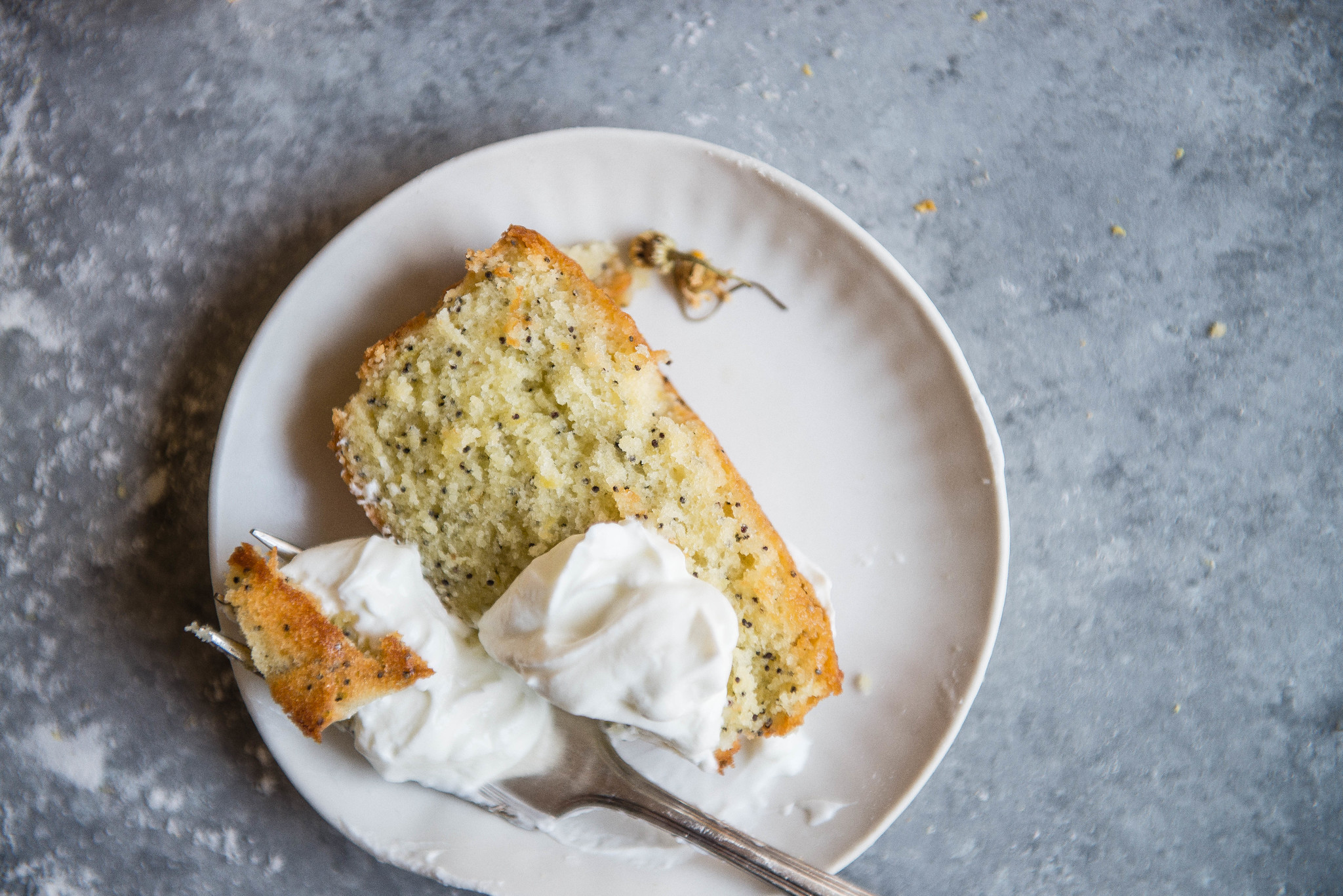 chamomile lemon loaf cake | two red bowls