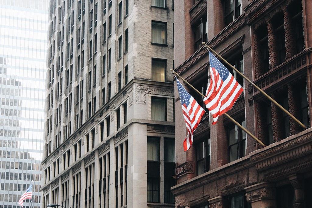 Amerikanische Flaggen in Chicago