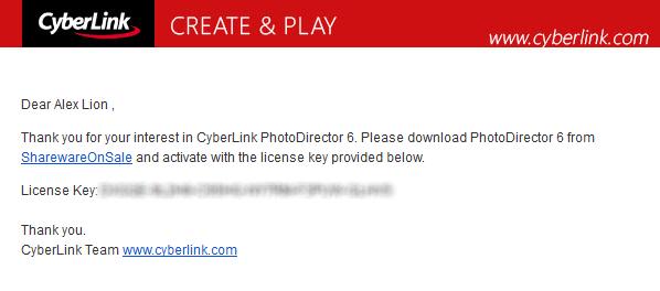 電子郵件內含序號及下載連結