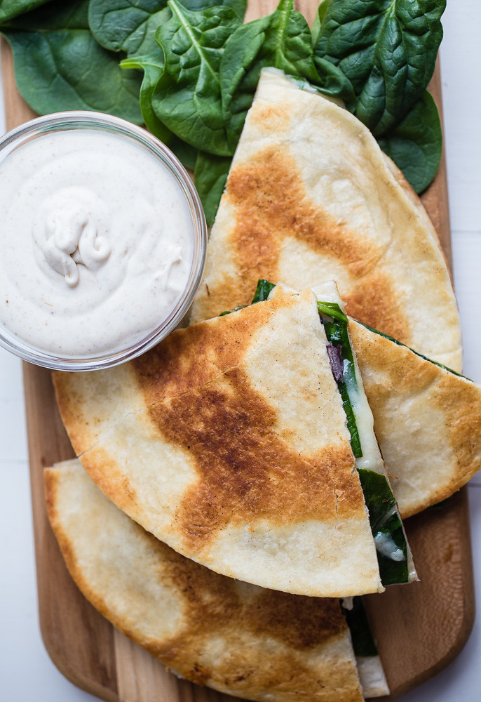 Black Bean and Spinach Quesadillas with Toasted Cumin Seed Crema