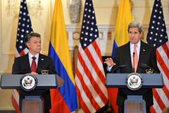 U.S. Secretary of State John Kerry delivers remarks at a joint news conference with Colombian President Juan Manuel Santos at the U.S. Department of State in Washington, D.C., on February 5, 2016. [State Department photo/ Public Domain]