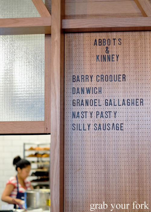 Menu board at Abbots and Kinney, Adelaide