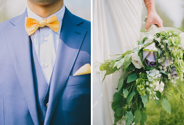 Lush kale bouquet + Yellow bowtie for Garden Chic wedding in Ontario The bride wears #BHLDN wedding dress | Photography: Fern Shin Photography | Read more on Fab Mood - UK wedding Blog #kalebouquet
