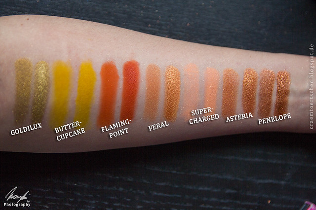 Orange Kupfer swatches
