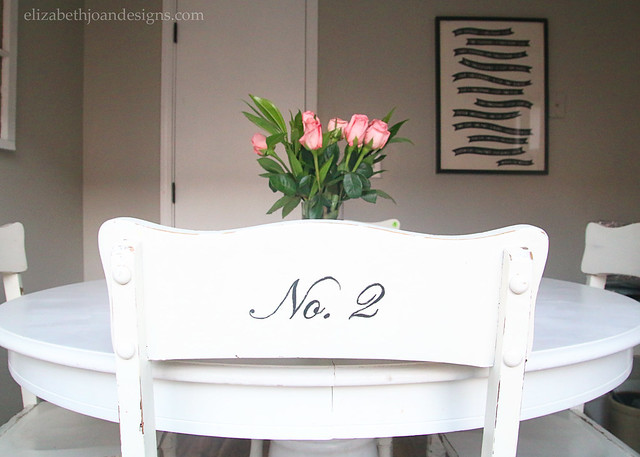 Pink Roses White Numbered Chairs