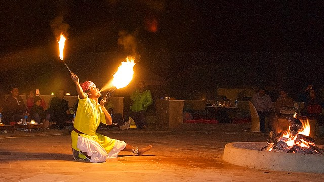 Fire show at desert camp