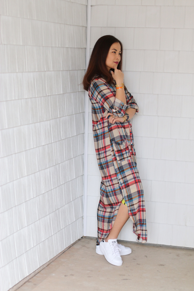 Stan-Smith-Double-Sole-sneakers-shein-plaid-dress-4