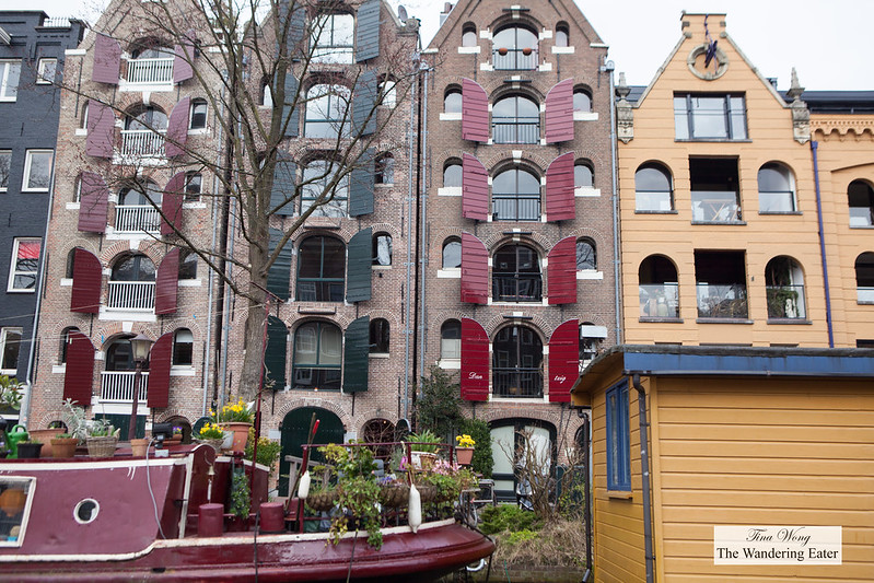 Colorful boathouses and canal houses in Oud-Zuid neighborhood