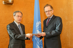 NEW PERMANENT REPRESENTATIVE OF JAPAN PRESENTS CREDENTIALS TO DIRECTOR-GENERAL OF UNITED NATIONS OFFICE AT GENEVA