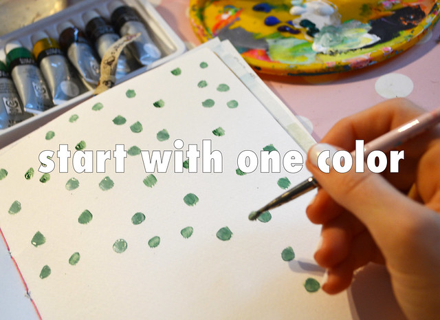 Polka Dot Prompt: Start with one color - art journal prompt by @iHanna