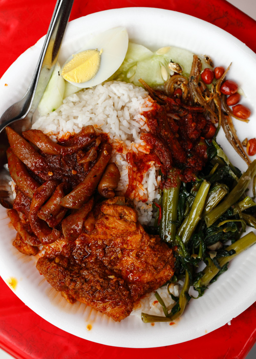 Chinese nasi lemak Chicken Rendang with Squid