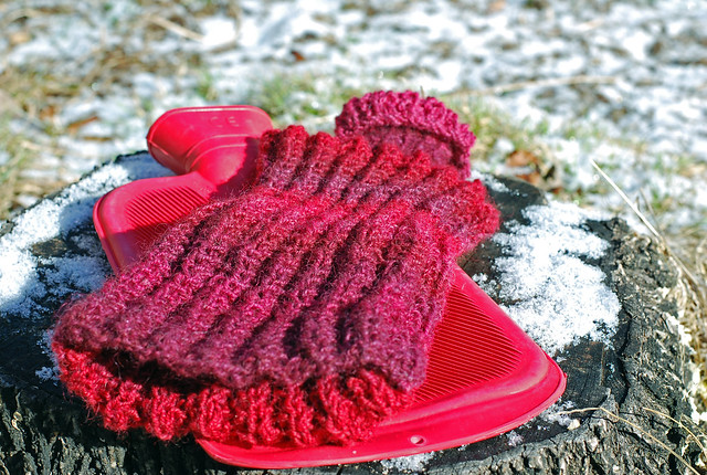 Handspun knitted hot water bottle cover in Masham wool by irieknit