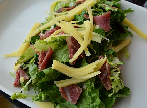 Green Salad with Prosciutto and Comte Cheese